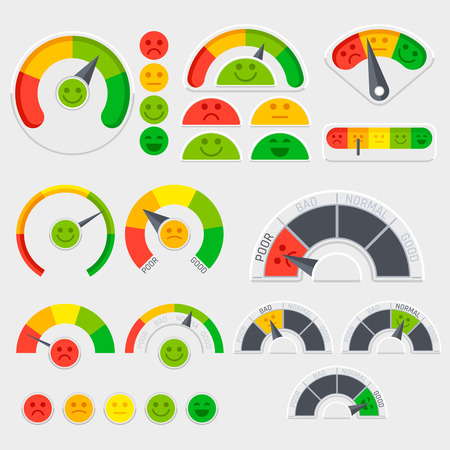 Customer satisfaction vector indicator with emotions icons. Client emotive rating Illustration