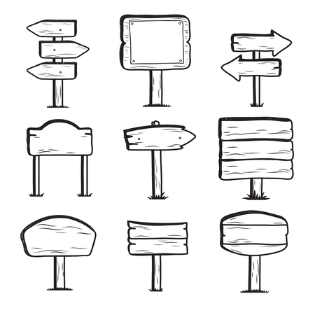 Hand drawn wooden street signs. Doodle sign post icons Illustration