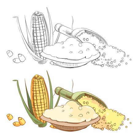 Corn porridge sketch coloring page Vettoriali