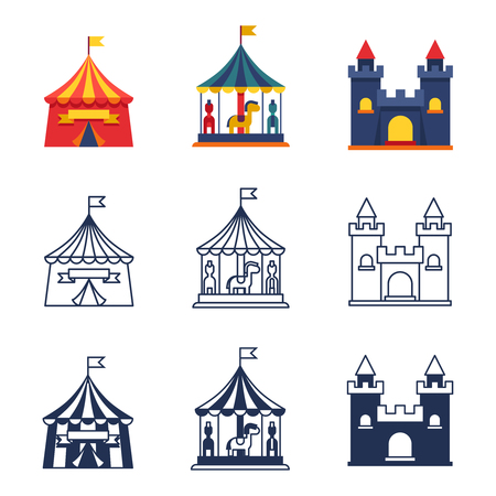 Amusement park circus carnival icons collection 向量圖像