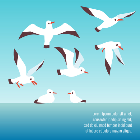 Atlantic seabirds flying background design Vectores