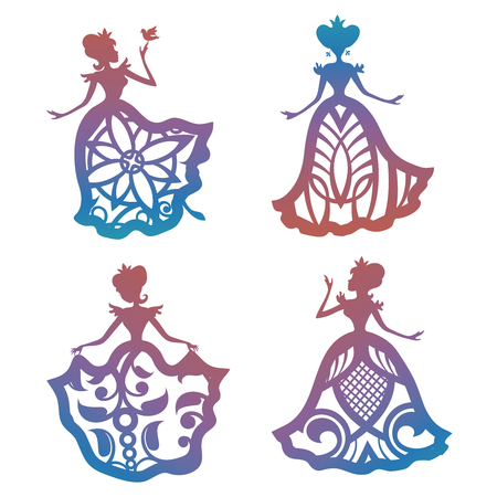 Colorful princess silhouette in lacy dresses Stock Illustratie