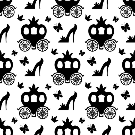 Fairytale seamless pattern with shoes and butterflies
