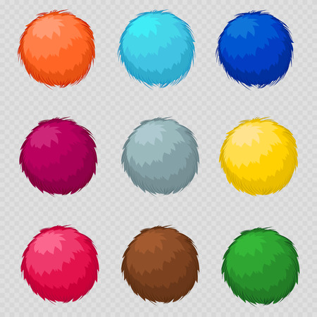 Colorful fluffy pompom fur balls