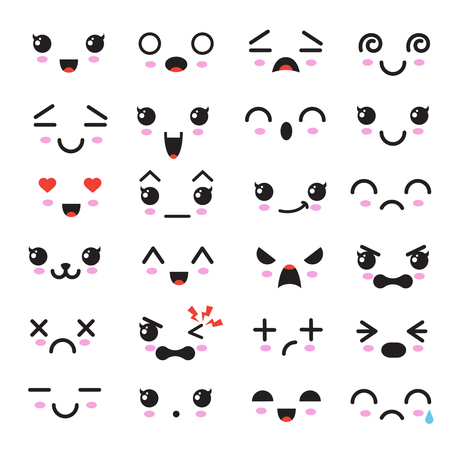 Cute facial emotions icon. Illustration