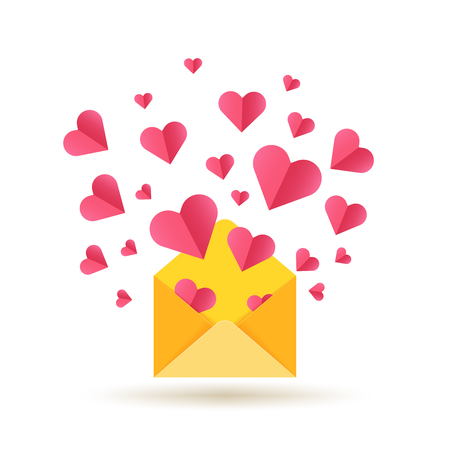 Valentines Day card with open envelope and red hearts illustration.