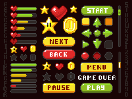 Pixel game elements icon.  イラスト・ベクター素材