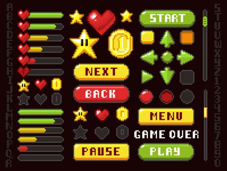 Pixel game elements icon. Vettoriali