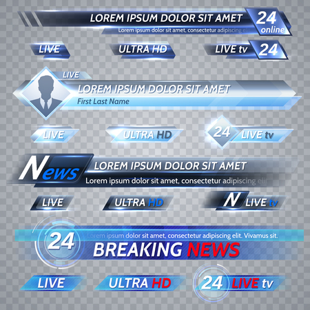 Tv news and streaming video vector banners Stock Illustratie