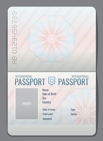 Blank open passport template isolated vector illustration Vettoriali