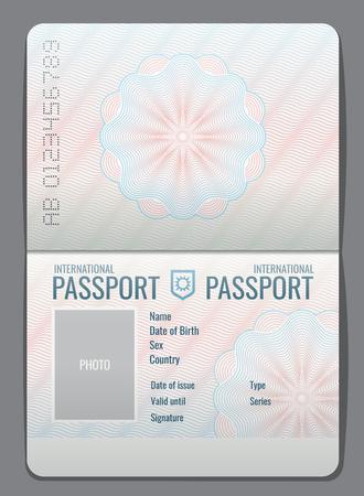 Lege open paspoort sjabloon geïsoleerde vectorillustratie