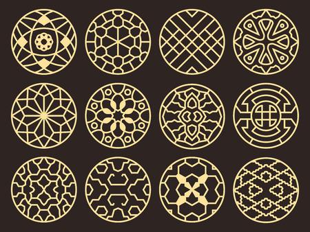 Alte buddhistische Muster, Verzierungen und Symbole des koreanischen und chinesischen traditionellen Vektors Standard-Bild - 92238363