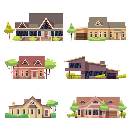Private residential cottage houses icons. Colored flat vector illustration Çizim