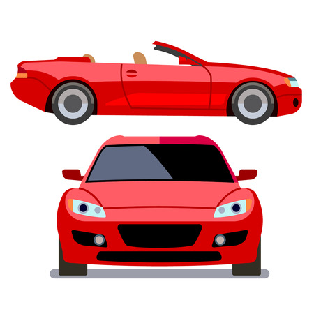 Vector flat-style cars in different views. Red cabriolet Vectores