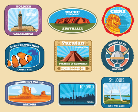 Famous monuments and national landmarks retro vector travel labels