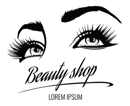 Beauty salon vector poster with eyes, eyelashes and eyebrow of beautiful woman. Beauty makeup eyes, fashion female face on poster illustration