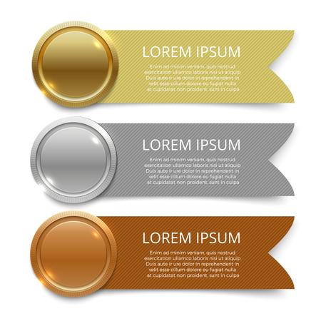 Design di banner di medaglie d'oro, d'argento e di bronzo Vettoriali