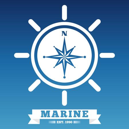 Marine emblem design with ship wheel and rose wind