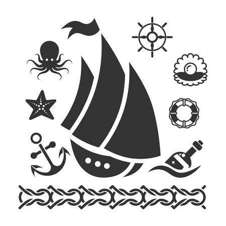 Vintage marine icons set with ship starfish anchor