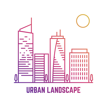 Colorful urban landscape in line vector style illustration.