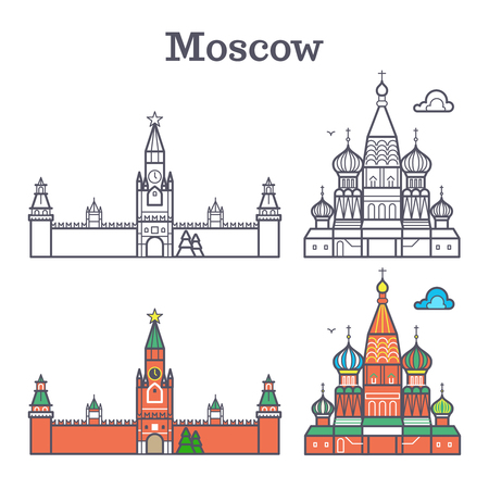 Moscow linear russia landmark, soviet buildings, Red Square isolated on white background. Vector illustration Vectores