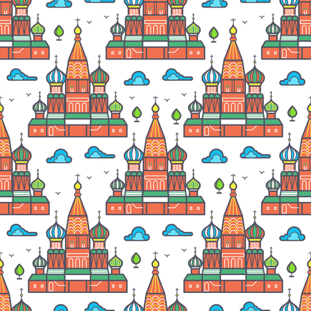 Famous Moscow cathedrale seamless pattern design - russian landmark texture. Vector illustration