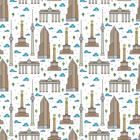 Bright Germany Berlin landscape seamless pattern background. Vector flat illustration Illustration