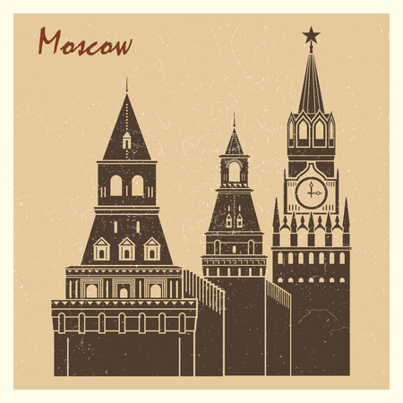 Vintage Moscow city Kremlin grunge postcard design. Vector illustration flat