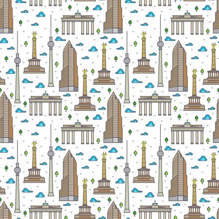 Germany Berlin landscape seamless pattern