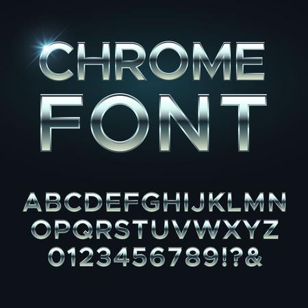 metal vector font. Steel metallic alphabet letters. Alphabet silver, metal letter illustration