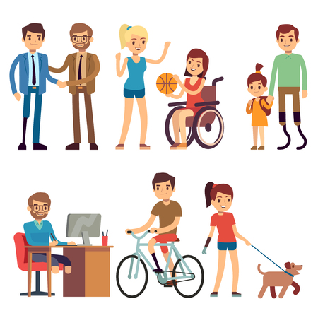 Disabled young woman and man in in day routine activities vector cartoon characters set Ilustracja