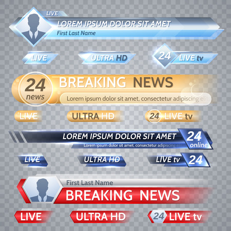 Tv vector bars and broadcast graphics for lower third news background