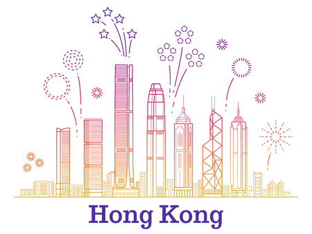 Hong kong city vector panorama with colorful festive fireworks. Hong kong building skyscraper illustration Vettoriali