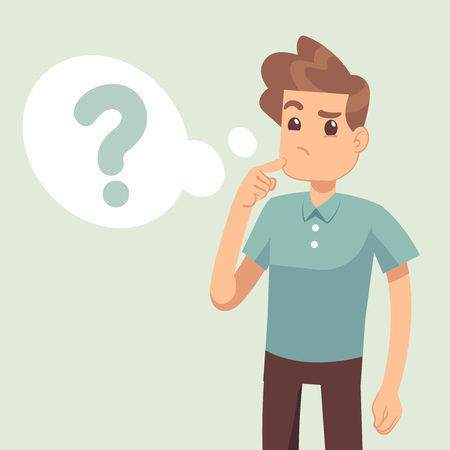 Cartoon thinking man with question mark in think bubble vector illustration