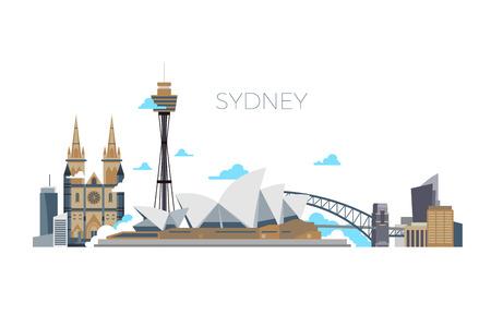 시드니 시티 벡터 파노라마입니다. 플랫 스타일에서 호주 여행 랜드 마크입니다. 도시 시드니, 아키텍처 랜드 마크 파노라마 그림 일러스트