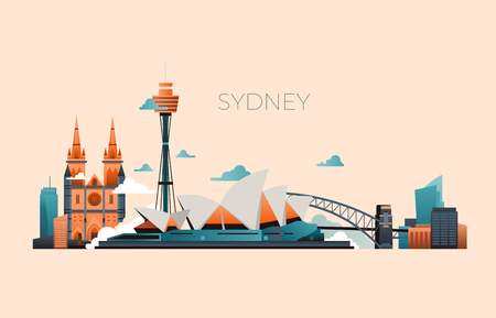 Australia travel landmark vector landscape with Sydney opera and famous buildings