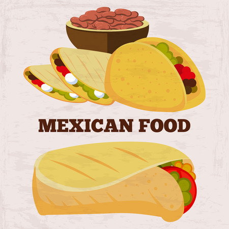 Popular mexican food burito and dinner on grunge background