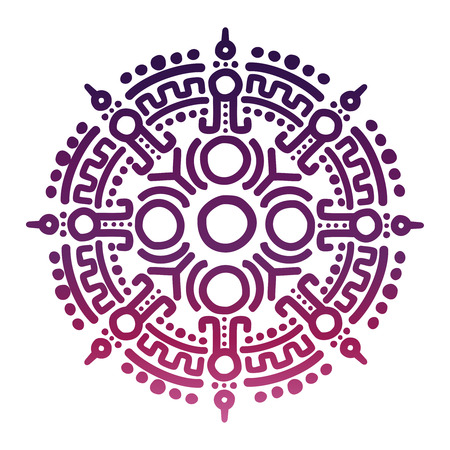 Colorful ancient mexican mythology symbol isolated on white background. Vector illustration