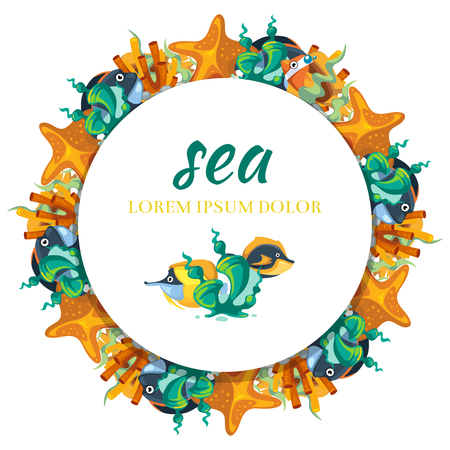 Sea life round banner design - banner with cartoon seaweeds and fish illustration.