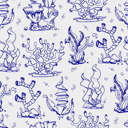Doodle seaweeds and coralls seamless pattern background hand drawn. Vector illustration