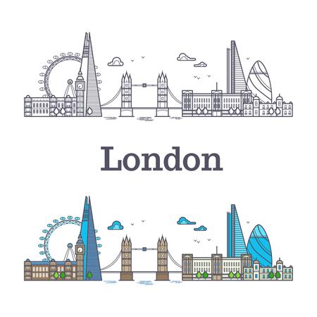 有名な建物、観光イングランドのランドマークとロンドンの都市のスカイライン