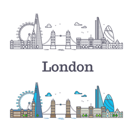London city skyline with famous buildings, tourism england landmarks