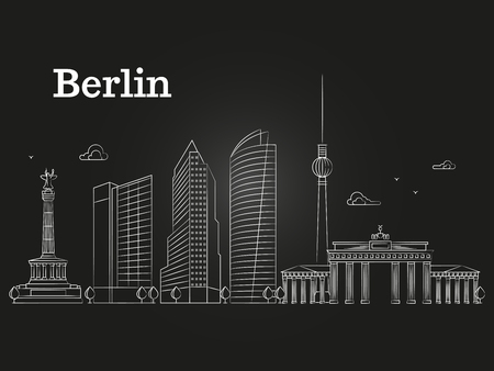 Germany Berlin line vector landscape, city panoramic houses on black background. Vector illustration Çizim