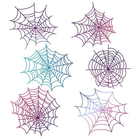 Colorful spider web isolated Ilustração