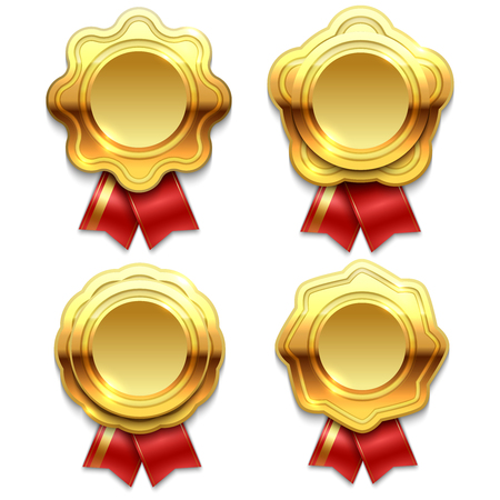 Gold banners with red ribbons