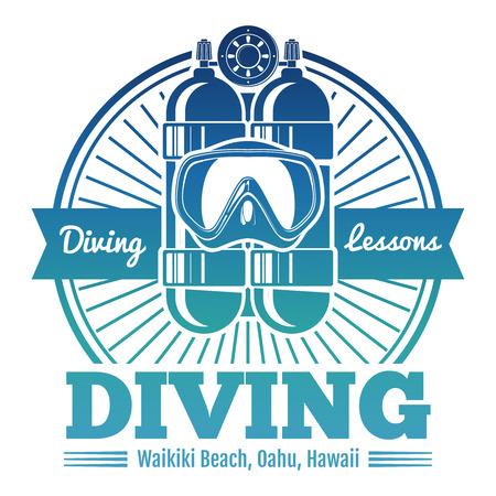 Color diving club emblem or logo Illustration