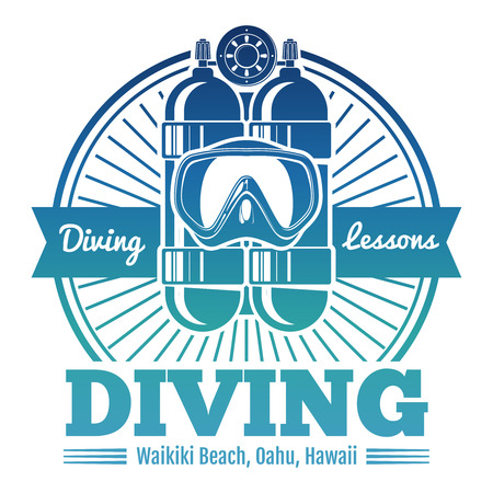 Color diving club emblem or logo Vectores