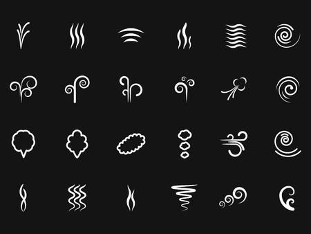 Smoke, wind simple icons on black backdrop Illustration