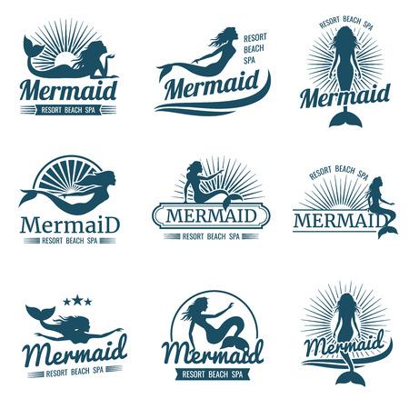 Meerjungfrau Silhouette stilisierte Vektor Sammlung