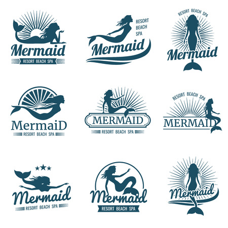 Mermaid silhouette stylized vector collection